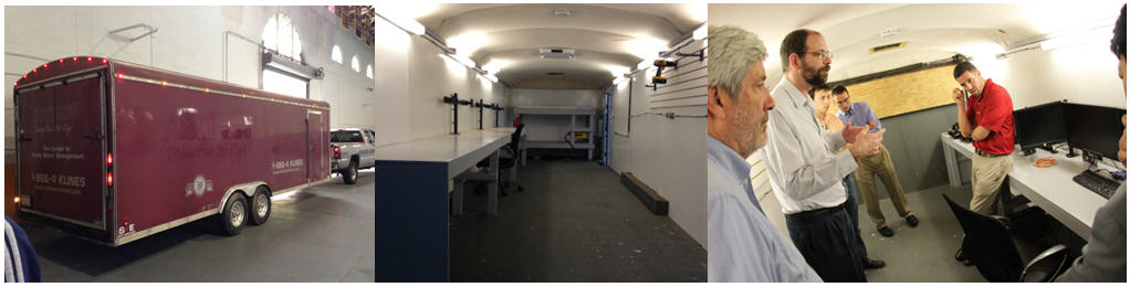 24-foot trailer that team will drive to Miami (left), with interior customized into a command-and-control center (middle) and shown to DARPA at CDR (right)