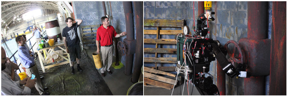 A full-sized mock-up test site was fabricated and shown leading to smiles from DARPA folks (left).  DRC-Hubo doing the valve-turning event (right)